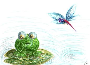 frog and dragonfly by weirdo27