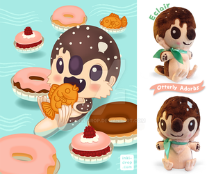 Eclair the Pastry Otter Plush + Illustration by inki-drop