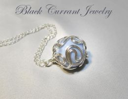 Blue Lace Agate in Sterling Silver Wire by blackcurrantjewelry