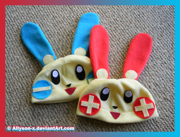 Plusle and Minun Hats by Allyson-x