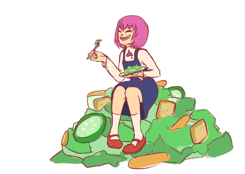 Momoka Laughing Alone with Salad by raynalin
