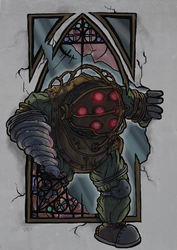 Big Daddy says hi - bioshock by woodooferret