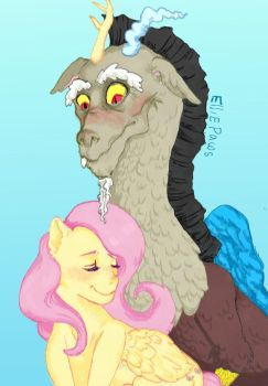 Fluttershy and Discord by elliepaws