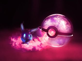 The Pokeball of Ghost Eevee by wazzy88