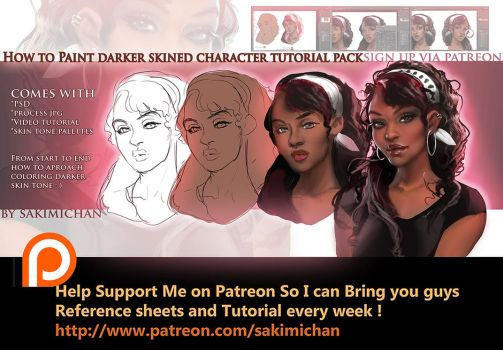 How to paint dark skin characters tutorial pack by sakimichan