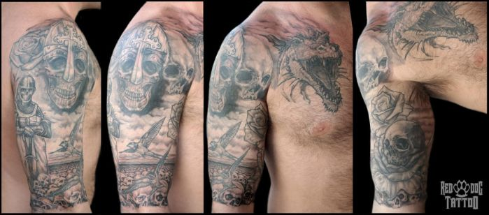 The Knights Templar Cover up Tattoo by Reddogtattoo