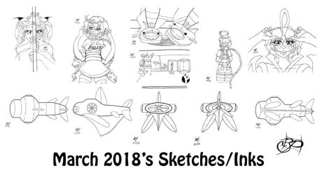 March 2018 Sketches! by BalloonPrincess