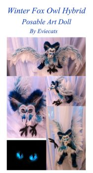 Winter Fox / Owl Hybrid Posable Art Doll by Eviecats