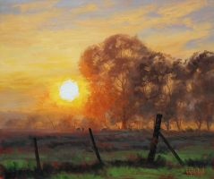 Farm Sunrise Painting by artsaus