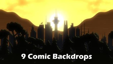 9 Comic Backdrops by SpiralGraphic