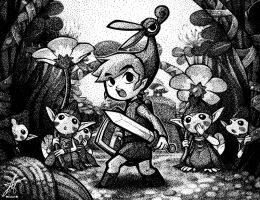 Zelda - Minish Cap Stipple by watermeloons