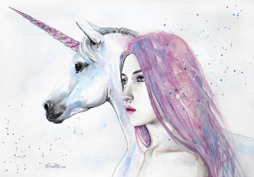 The unicorn and the girl by ericadalmaso