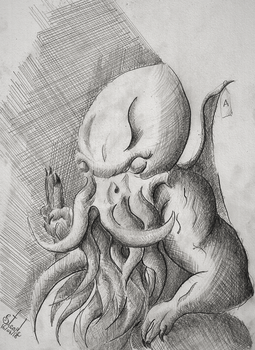 Cthulhu statue April sixteenth by SulaimanDoodle