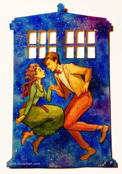 The Doctor's Wife - Watercolor cut-out by Qinni