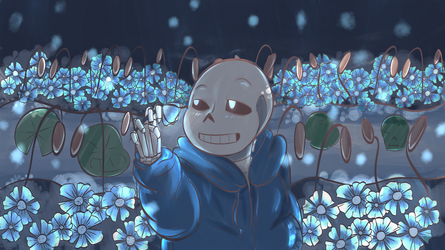Echo Flower Fields and a Sans by DeadIshael