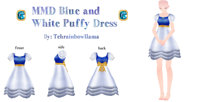 MMD Blue and White Puffy Dress by Tehrainbowllama