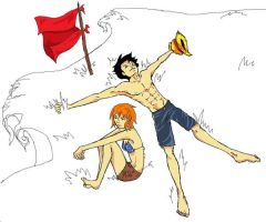Luffy and nami by wiilde