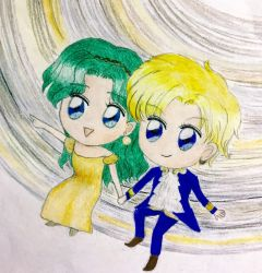 Sailor Moon Uranus and Neptune stargazing (Chibi) by TheKissingHand