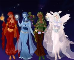 Elemental Goddesses by Lunakinesis