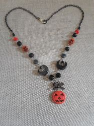 Halloween Jack-o-lantern Beaded Charm Necklace by TanzenLilly