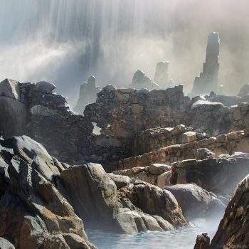 Waterfall Ruins Photobash by Aerozopher