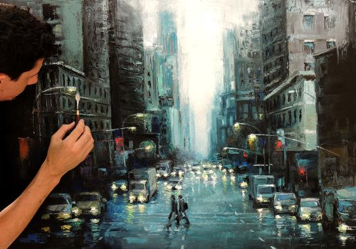 After the Rain - oil painting on canvas done with by fabianoMillani