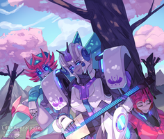 Commission: Among the Cherry Blossoms by LillinApocalypse