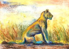 Daily painting 09#-Lioness by FuzzyMaro