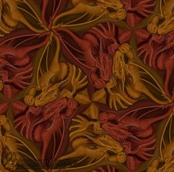Red and Gold Tessellation by Nightlyre