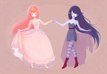 Princess Bubblegum and Marceline by bonxy