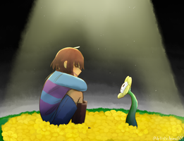 Art Request: Frisk and Flowey by ArtisticAnimal101