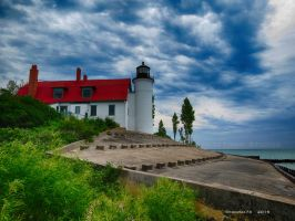 Point Betsie Lighthouse before the storm by Foozma73