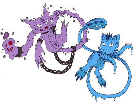 Pokefusion: Hauntew and Omaew by Nightwind-Dragon