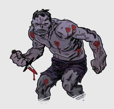 grey hulk with wounds and knife by marklaszlo666
