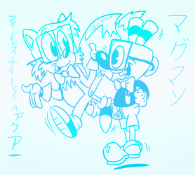 Tails and Mugman- Smart Pals White background by spongefox