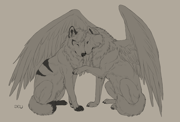 Lineart Commission: Snowi and Djem by DeyVarah