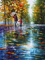 Stroll In Autumn Park by Leonid Afremov by Leonidafremov