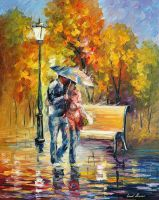 Red Raincoat by Leonid Afremov by Leonidafremov