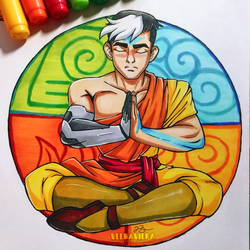 Inktober Day 2 - Tranquil - Shiro/Aang by VeenaViera