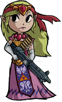 Rambo Princess Zelda (Commission) by Decapitated-Kittens