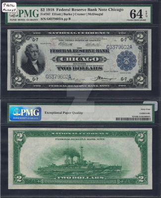 1918 FRBN Chicago TWO DOLLAR BILL (Front and Back) by StephenBarlow