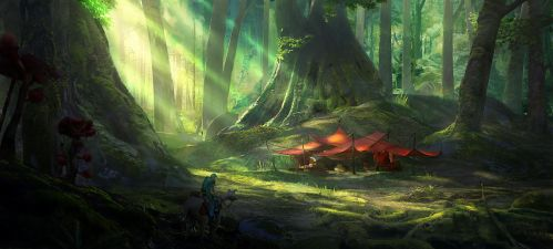 Camping in the woods by PulpoGlow
