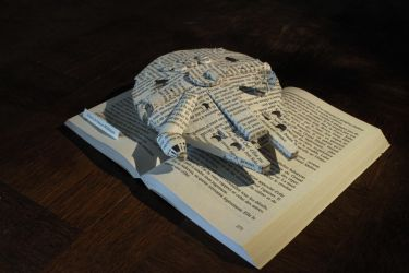 StarWars - The Millenium Faucon book sculpture 2 by KarineDiot