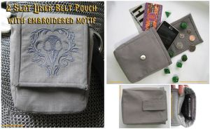 Embroidered Gray Linen Belt Pouch by Verdaera