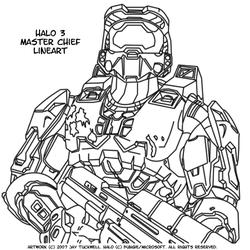 Halo 3 - Master Chief Lineart by N1k3DuD3