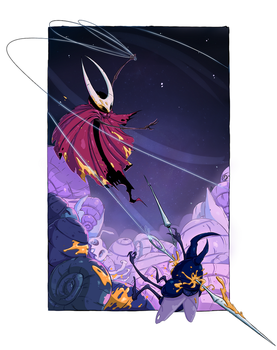 Hollow knight - Hornet fight. Colored line art by Nekr0ns
