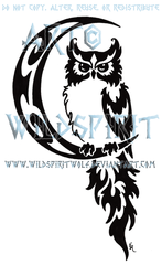 Celestial Owl And Moon Tribal Design by WildSpiritWolf