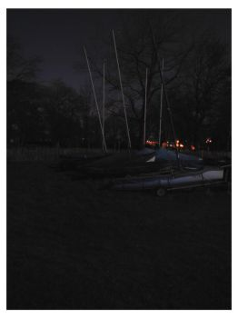 Moonlit boats ashore by e-s-d