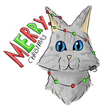 Chivypaw got in the christmas tree by BunnyDrawsCats