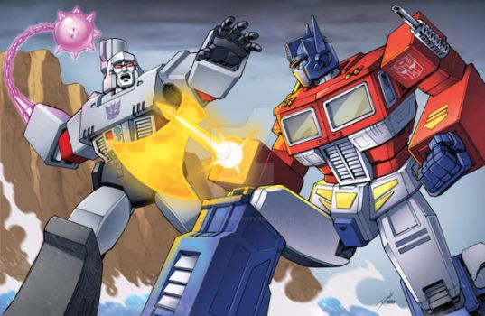 Optimus v  Megatron by Dan-the-artguy